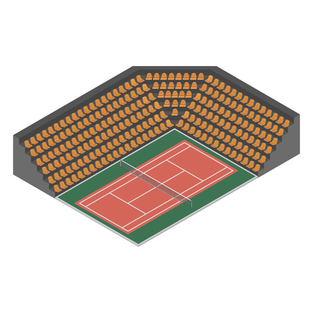 synthetic court: Outdoor tennis court with bleachers for spectators, isolated on white background. Flat 3D isometric style, illustration.
