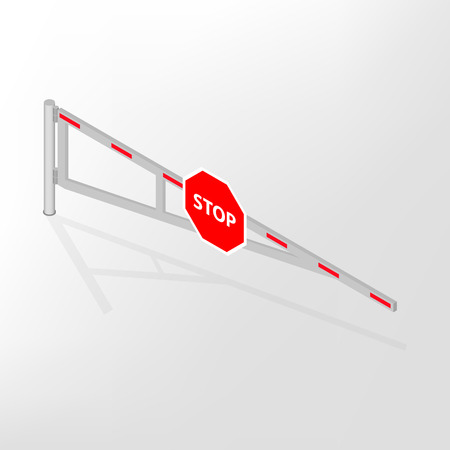 lift gate: Mechanical barrier isolated with road sign stop on white background. Crossbar for opening and closing the way at level crossings. Flat 3D isometric style