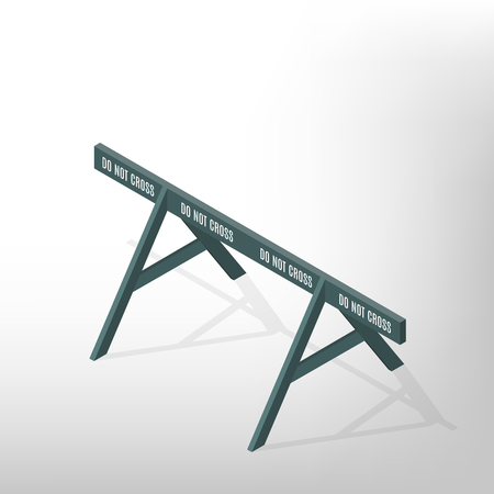 Wooden road traffic barrier, isolated on a white background. Design elements for reconstruction. Flat 3D isometric style