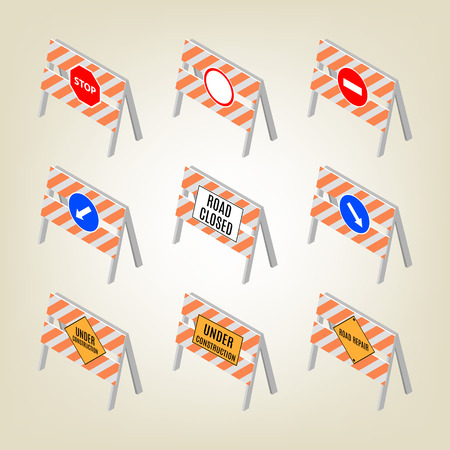 Set of road signs repairs isolated on white background. Design elements for reconstruction. Flat 3D isometric style Illustration
