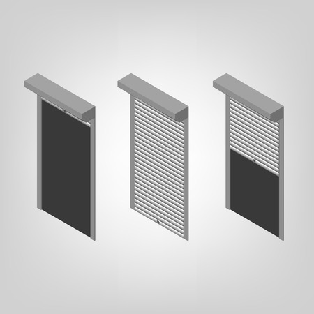 Steel security shutters for windows, doors and garage on a white background. Exterior design elements. Flat 3D isometric style, vector illustration.