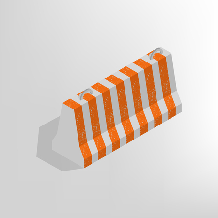 Iron concrete block for barriers with a markup, isolated on white background. Design elements for reconstruction. Flat 3D isometric style, vector illustration.