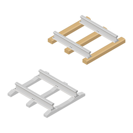 sleepers: Railroad tracks with wooden and concrete sleepers isolated on white background. Flat 3D isometric style, vector illustration. Illustration
