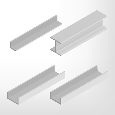 steel beam: Steel beam isolated on white background. Design elements for the construction and reconstruction. Flat 3D isometric style, vector illustration.
