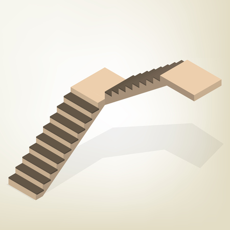 Flight of stairs isolated on white background. Element of design the interior and architecture. Flat 3D isometric style, vector illustration.