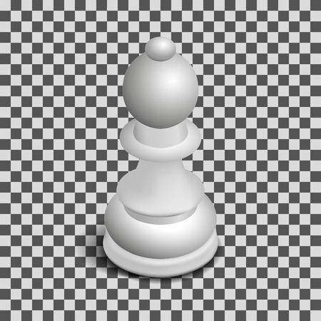 Photo realistic white chess piece bishop. 3D isometric style, vector illustration.