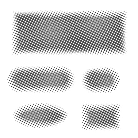 Set of grey different geometric shapes with halftone effect. Dots textures, vector illustration.