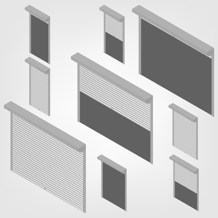 security shutters: Steel security shutters for windows, doors and garage on a white background. Exterior design elements. Flat 3D isometric style, vector illustration.