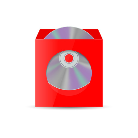 dvd case: Color realistic envelope with a window for the CD, isolated on white background, vector illustration.
