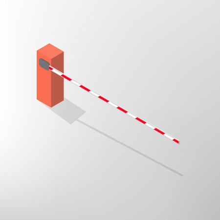 lift gate: The barrier isolated on white background. Crossbar for opening and closing the way at level crossings. Flat 3D isometric style, vector illustration.