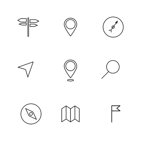 rout: Set of navigation icons of thin lines, isolated on white background, vector illustration.