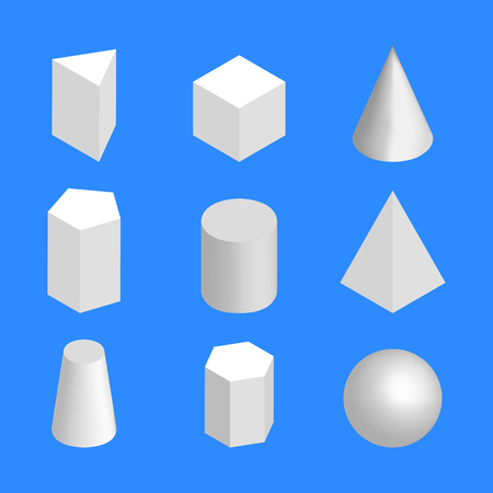 Simple geometric shapes, isolated on a blue background. 3D isometric style, vector illustration.