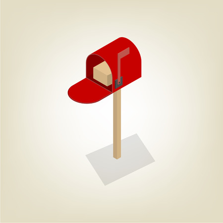 American colored mailbox isolated on white background. Flat 3D isometric style, vector illustration.