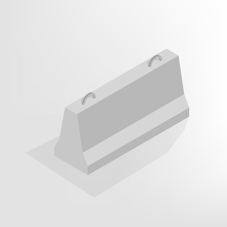 markup: Iron concrete block for barriers with a markup, isolated on white background. Design elements for reconstruction. Flat 3D isometric style, vector illustration.