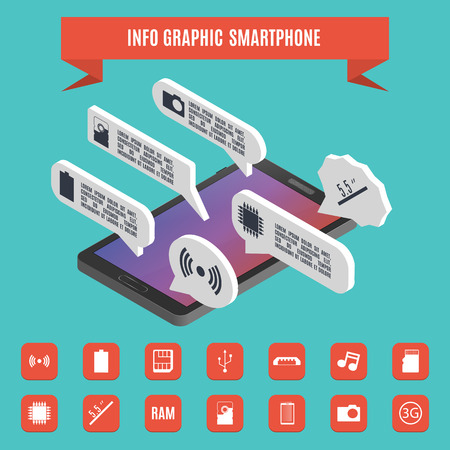 Set elements of infographics smartphone. 3D isometric style, vector illustration.