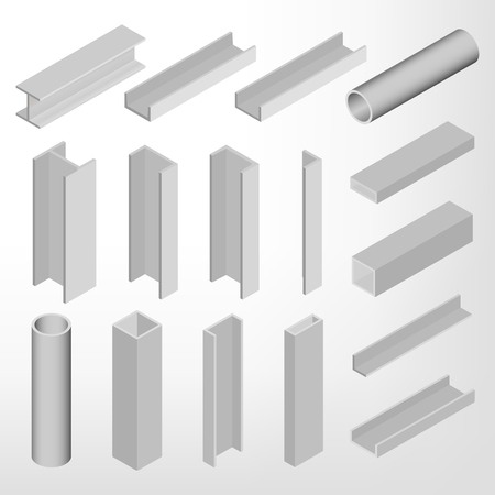 Steel beam isolated on white background. Design elements for the construction and reconstruction.