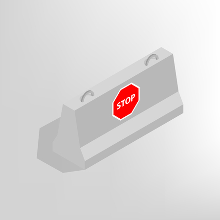 markup: Iron concrete block for barriers with a markup, isolated on white background.