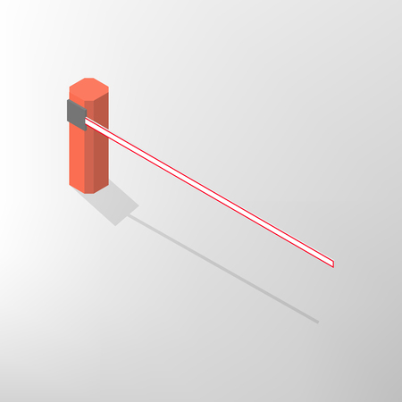 The barrier isolated on white background. Crossbar for opening and closing the way at level crossings. Flat 3D isometric style, vector illustration.