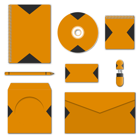 Template of corporate identity. Set of various mock-ups of business stationery. Design of branding elements. Notepad, flash drive, pencil, envelope, compact disc and business card, vector illustration Illustration