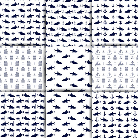 Set of nautical backgrounds, seamless texture with elements of marine inventory, anchor, shark and sailors striped vest, vector illustration.