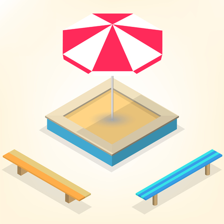 Sandbox with a set of wooden benches and sun protective umbrella isolated on white background. Elements of the design of playgrounds and parks. Flat 3d isometric style, vector illustration.