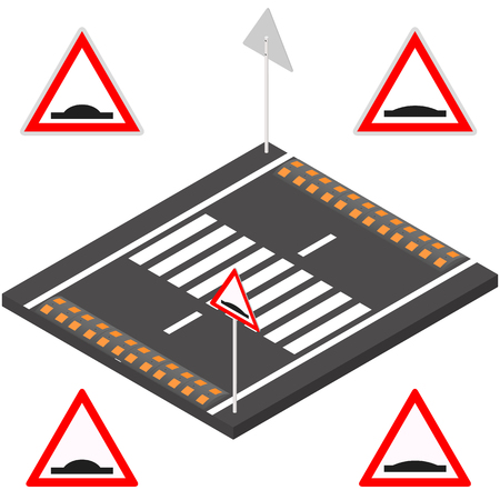 danger ahead: Speed bump on the road segment. Sleeping police sign on a white background. Flat 3d isometric style, vector illustration.