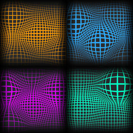 Set of colored abstract background with half tone effects. Bloated dots textures, vector illustration.