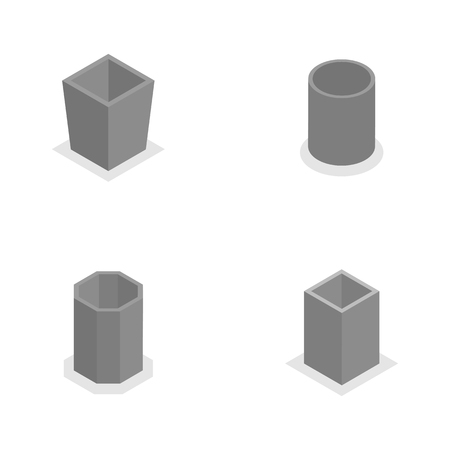 urns: Set of concrete urns for garbage of different shapes, isolated on white background. Flat 3d isometric style, vector illustration.