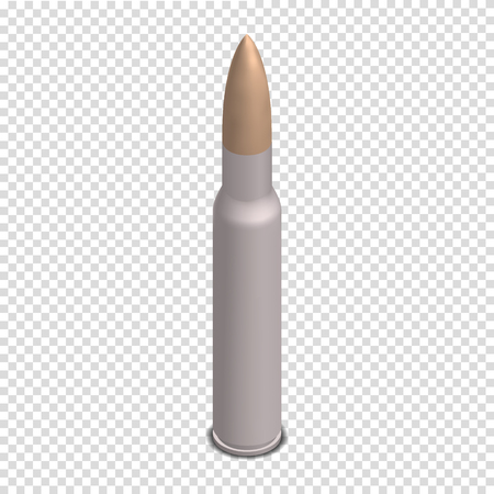 Photorealistic cartridge with a bullet isolated on white background. Design element firearms. 3D isometric style, vector illustration. Stock Illustratie