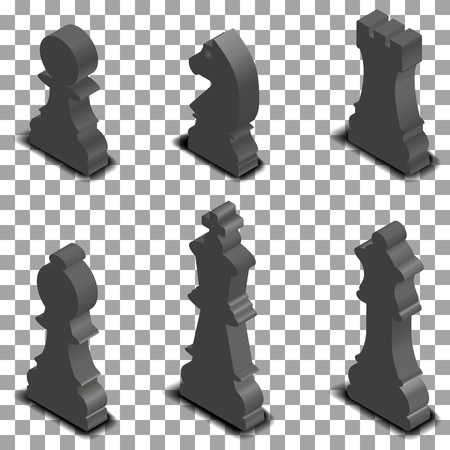 Photo Realistic Black Chess Pieces. 3D Isometric Style, Vector  Illustration. Stock Vector