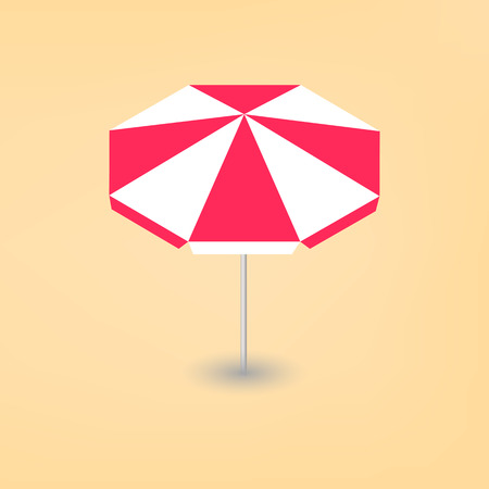 Bright beach umbrella isolated on a yellow background. Leisure icon. Flat 3d isometric style.