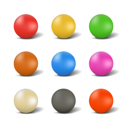 Set of multi-colored glossy balls for playing snooker with shadow, isolated on white background.