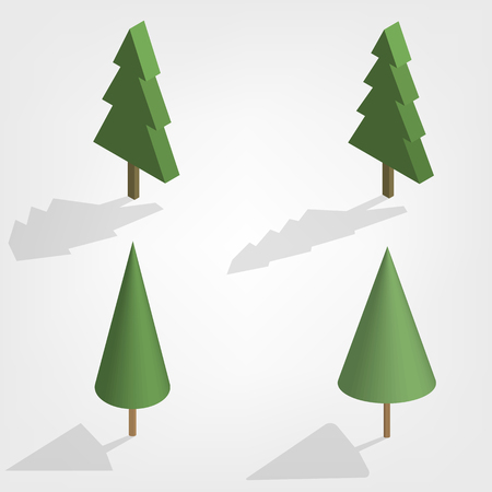 Green trees of various shapes isolated on white background. Elements for the design of the park, forest and garden. Flat 3D isometric style, vector illustration.
