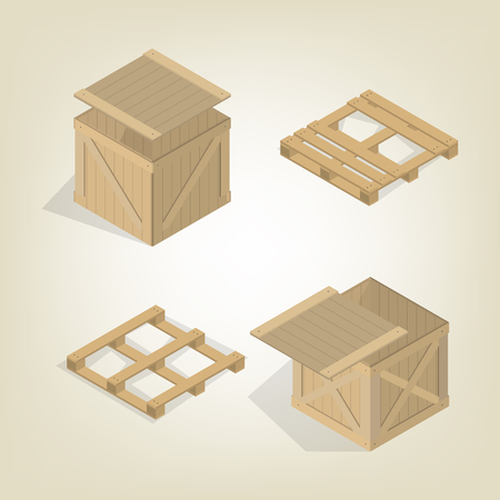 Realistic wooden container for transportation cargo with pallet, isolated on a light background. Flat 3D isometric style, vector illustration.