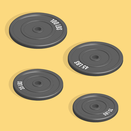 barbel: Sports equipment item. Weight plate for barbell, element design for gym. Flat 3D isometric style, vector illustration. Illustration