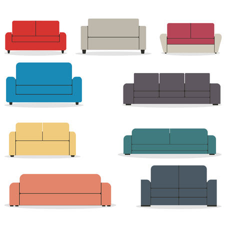 Set of pieces of furniture, sofas of various shapes isolated on white background. Elements of interior design in a flat style, vector illustrations.
