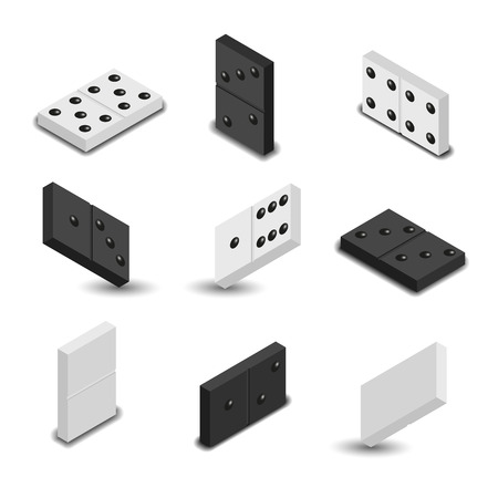 Set of game icons. Black and white items for play of dominoes with shadow. 3D isometric style, vector illustration.