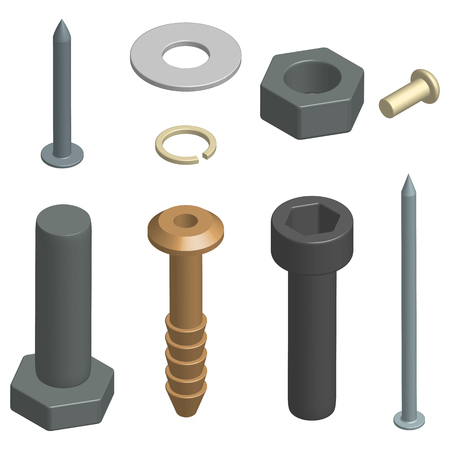 Set of different fasteners isolated on white background. 3D isometric style, vector illustration.