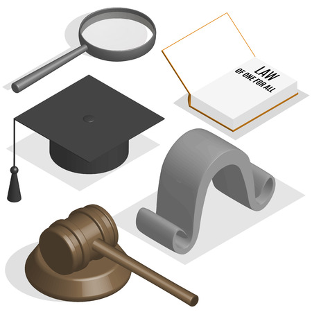 The judge set. Loupe, gavel, wig, book and graduation cap on a white background. 3D isometric style, vector illustration.