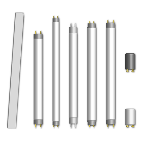 Set of different fluorescent lamps and starters, isolated on white background. Elements of design of electrical components, vector illustration.