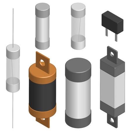 Reeks zekeringen van verschillende die vormen op witte achtergrond worden geïsoleerd. Elementenontwerp van elektronische componenten. 3D isometrische stijl, vectorillustratie.