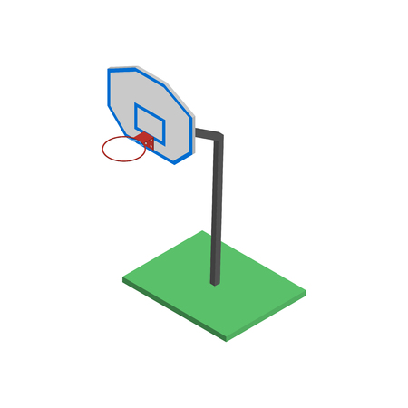 sports equipment: Basketball shield with a basket, isolated on white background. Element for the design of playgrounds and sports objects. Flat 3d isometric style, vector illustration.