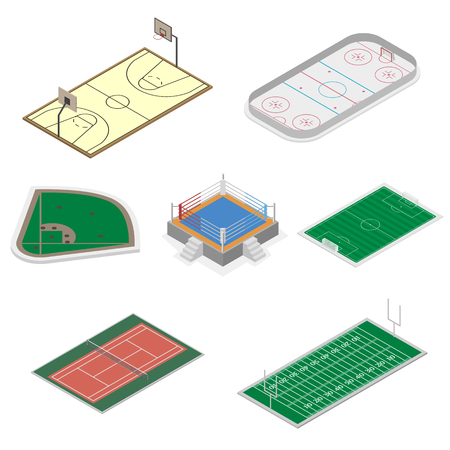 hockey goal: Playgrounds for playing football, soccer, basketball, baseball, ice hockey and tennis, isolated on white background. Design element of sports objects. Flat 3d isometric style, vector illustration. Illustration