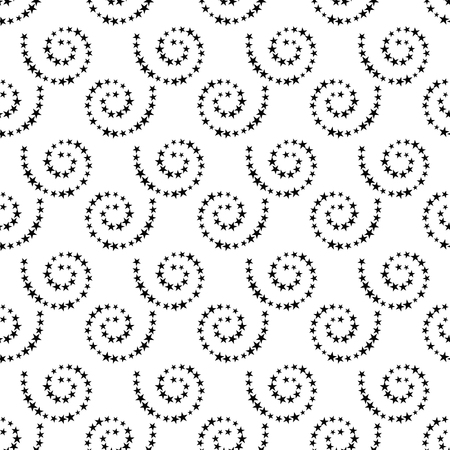 Abstract black and white seamless background with dotted spirals, repeating texture with halftone effect, and vector illustration.