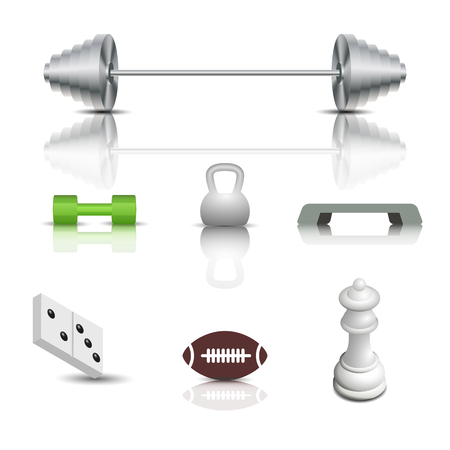Realistic sports and game icons with shadow and mirror reflection. Isolated on white background, vector illustration.