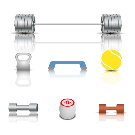 barbel: Realistic sports and game icons with shadow and mirror reflection. Isolated on white background, vector illustration.