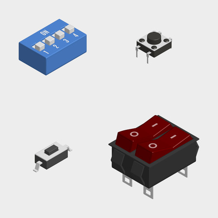 Set of different electric buttons and switches isolated on white background. 3D isometric style, vector illustration.