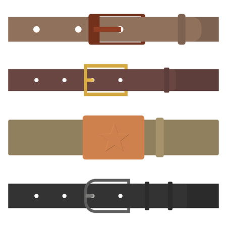 Set of different colored belts isolated on white background. Male, leather and army. Element of clothing design. Flat style, vector illustration.