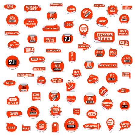 Set of red paper stickers discount and sale, isolated on white background. Design elements labels and tags, vector illustration.