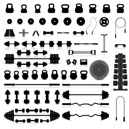 fitness equipment: Big set of various sports equipment for the gym and fitness with a mirror reflection and shadow, vector illustration.